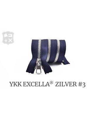 YKK Excella® YKK Excella Rits #3 zilver op maat (enkel) - (K16: Marine blauw 058)