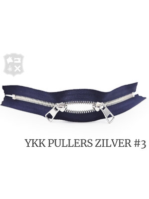 YKK Excella® YKK Excella Rits #3 zilver op maat (dubbel / head-to-head) - (Marine blauw 058)
