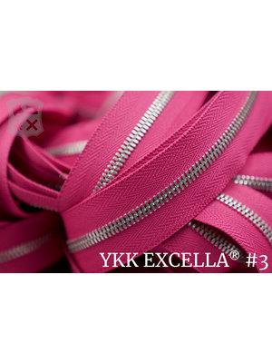YKK Excella® Excella® #3 Zilver van de rol - (R19 - Roze 354)