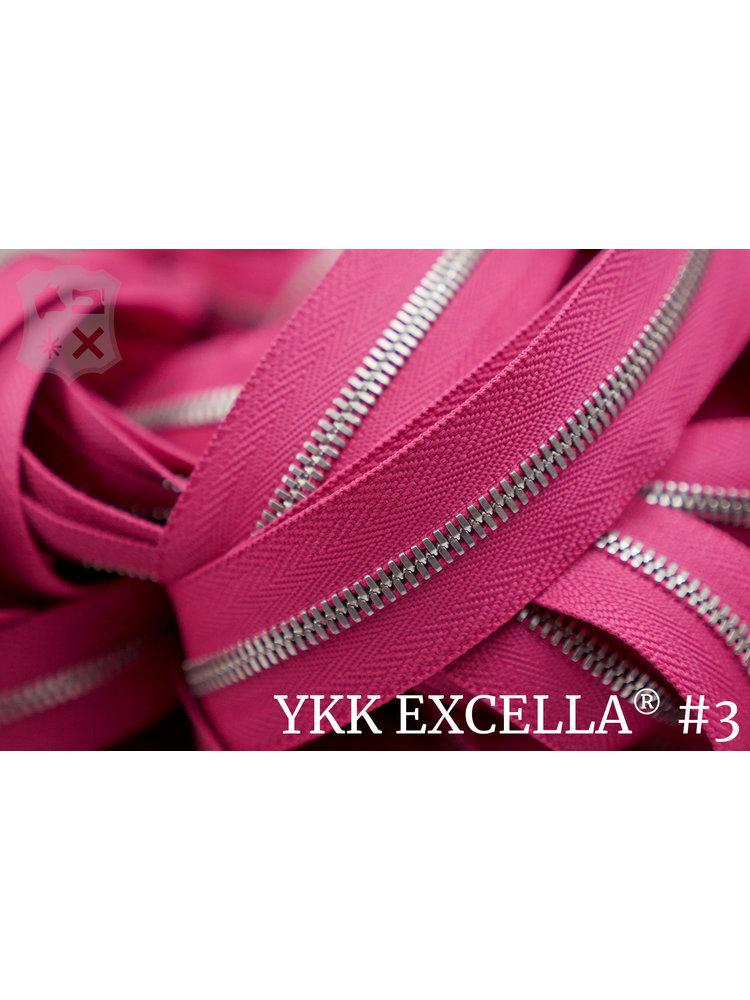 YKK Excella® Excella® #3 Zilver van de rol - Roze (354)