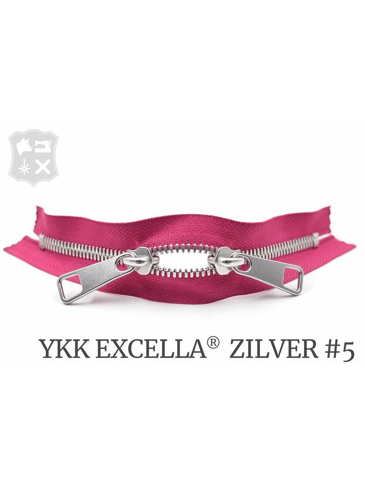 YKK Excella® YKK Excella Rits #5 zilver op maat (dubbel / head-to-head) - (Roze 354)