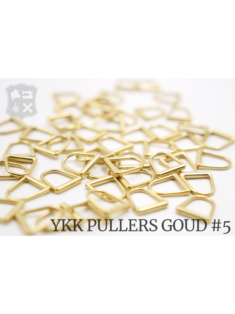 YKK Metaal D-ring Goudkleurige YKK Rits Pullers, maat 5 (5 stuks)