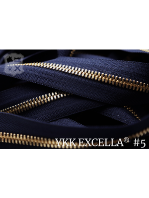 YKK Excella® Excella® #5 Golden Brass van de rol - Donkerblauw (058). Per Meter