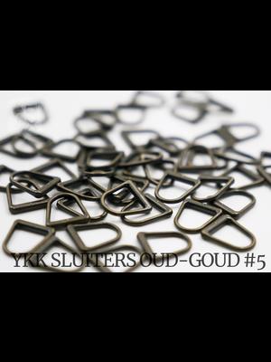 YKK D-ring Antique brass YKK Rits Pullers, maat 5 (5 stuks)