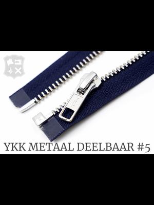 YKK Metaal YKK Metalen Deelbare rits #5 nikkel, 80 cm geremd - Donkerblauw (058)