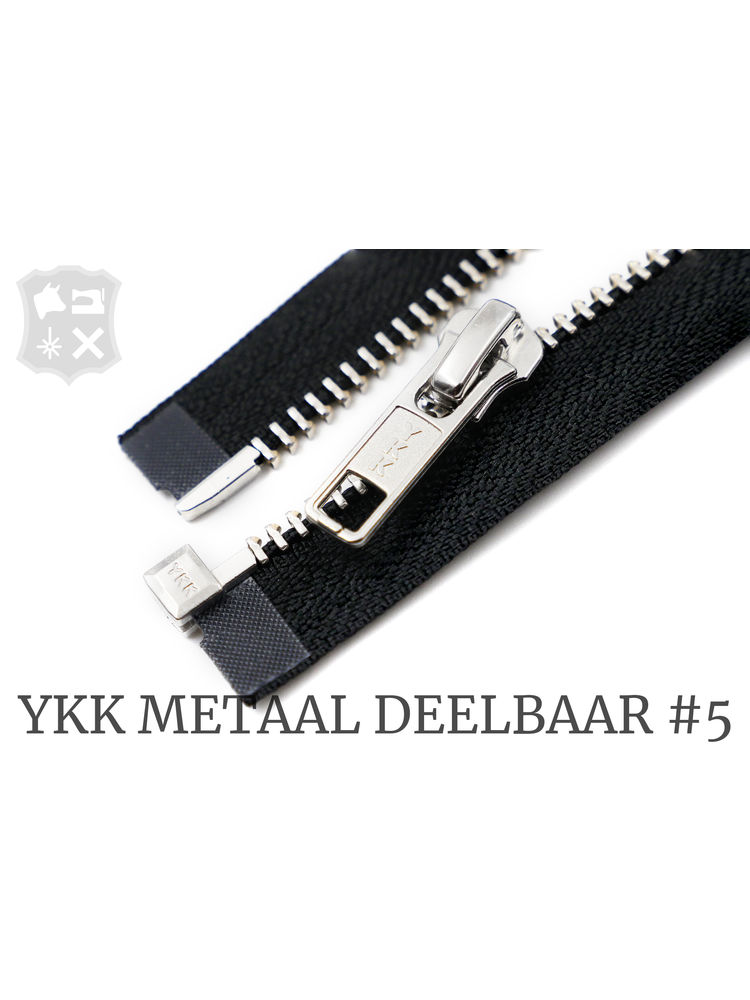 YKK Metaal YKK Metalen Deelbare rits #5 nikkel, 80 cm geremd - (ZA19 - zwart 580)