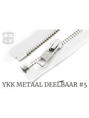 YKK YKK Metalen Deelbare rits #5 nikkel, 80 cm geremd - (wit 501)