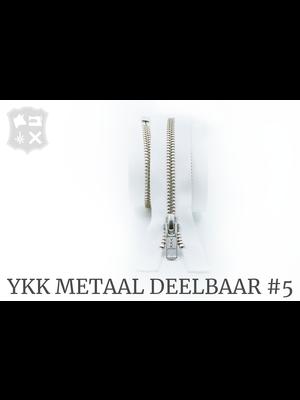 YKK Metaal YKK Metalen Deelbare rits #5 nikkel, 80 cm geremd - (wit 501)
