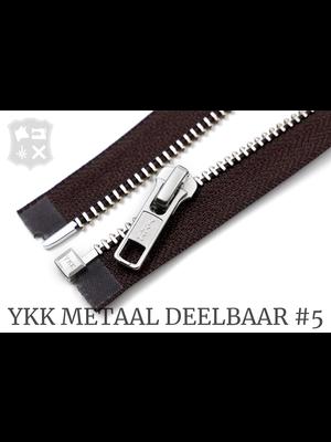 YKK Metaal YKK Metalen Deelbare rits #5 nikkel, 80 cm - (bruin 570)