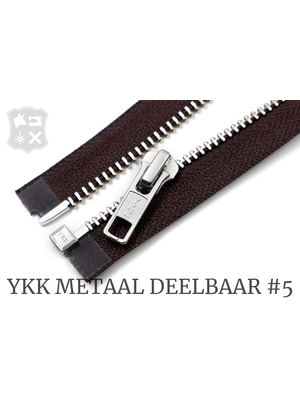 YKK YKK Metalen Deelbare rits #5 nikkel, 80 cm - (bruin 570)