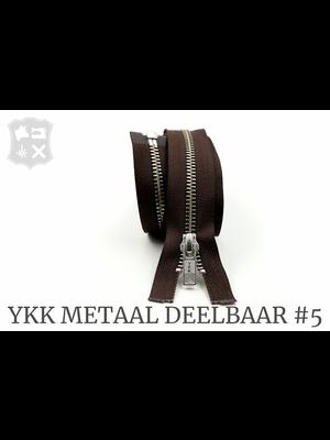 YKK Metaal YKK Metalen Deelbare rits #5 nikkel, 80 cm geremd - 80 cm - (bruin 570)