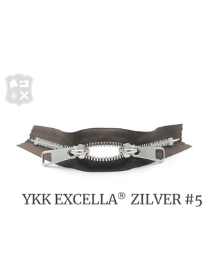 YKK Excella® YKK Excella Rits #5 zilver op maat (dubbel / head-to-head) - (V19 - Donkerbruin 088)