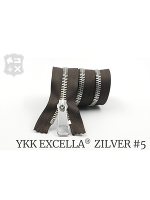 YKK Excella® YKK Excella Rits #5 zilver op maat (enkel) - (V19 - donkerbruin)