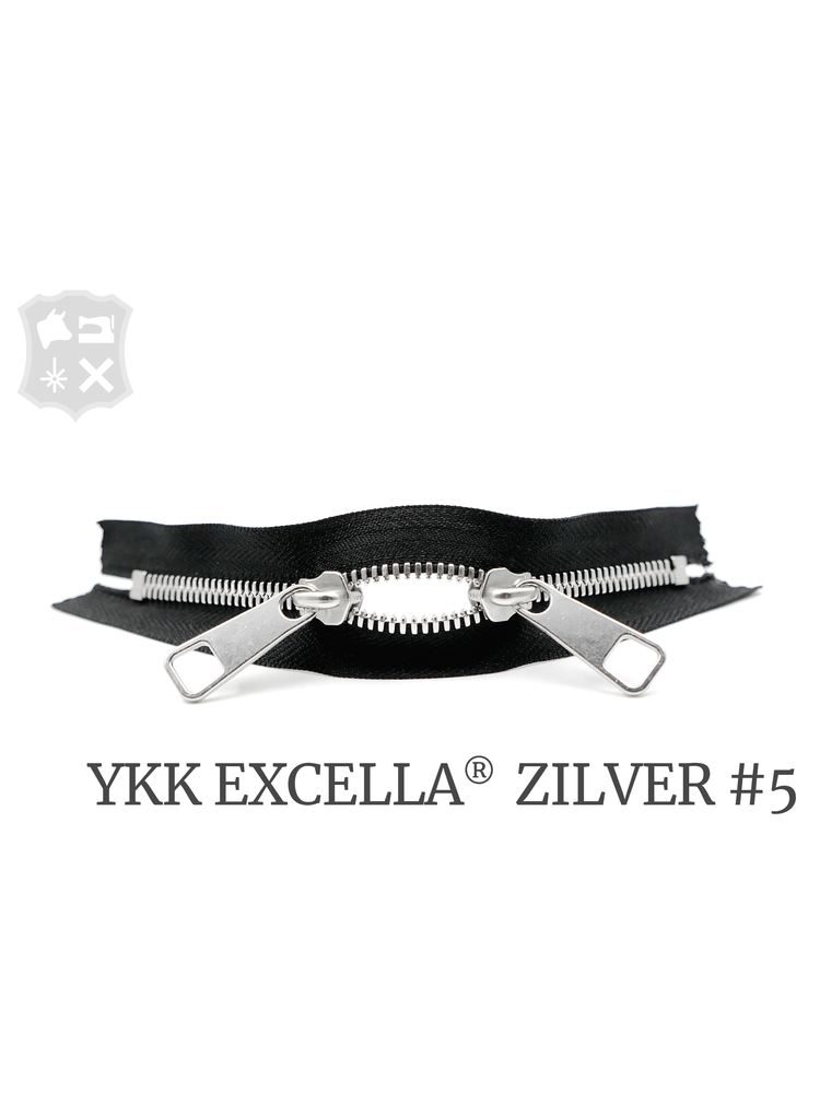 YKK Excella® YKK Excella Rits #5 zilver op maat (dubbel / head-to-head) - (ZA19 - zwart 580)
