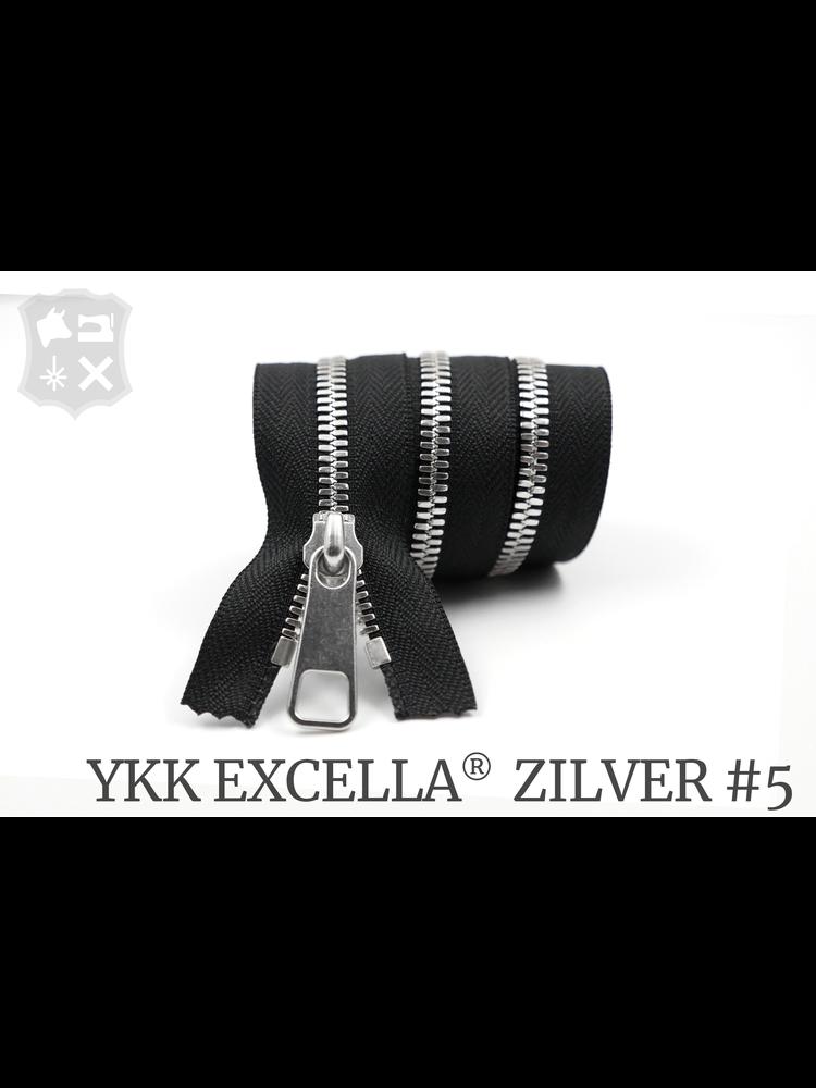 YKK Excella® YKK Excella Rits #5 zilver op maat (enkel) - (ZA19 - zwart 580)