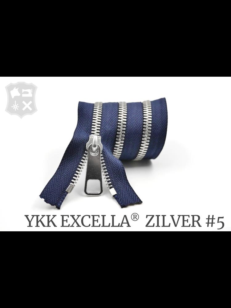 YKK Excella® YKK Excella Rits #5 zilver op maat (enkel) - (K16 - Marine blauw 058)