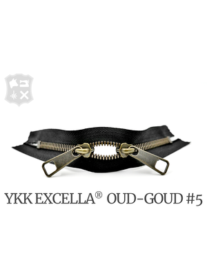 YKK Excella® YKK Excella Rits #5 Oud-Goud op maat (dubbel / head-to-head) - (ZA19 - Zwart 580)