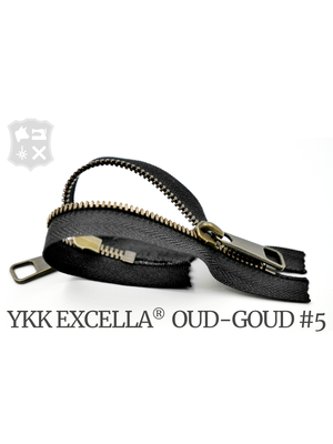 YKK Excella® YKK Excella Rits #5 Oud-Goud op maat (dubbel / head-to-head) - (Zwart 580)