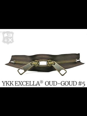 YKK Excella® YKK Excella Rits #5 Oud-Goud op maat (dubbel / head-to-head) - (Donkerbruin 088)