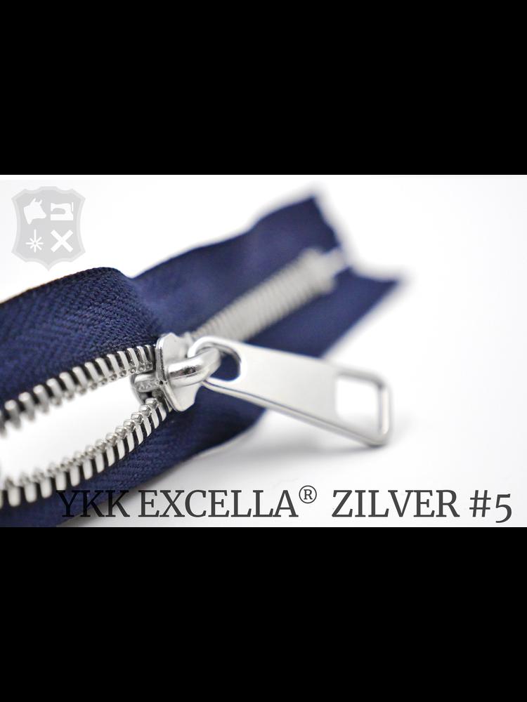 YKK Excella® YKK Excella Rits #5 zilver op maat (dubbel / head-to-head) - (K16 - Marine blauw)