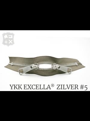 YKK Excella® YKK Excella Rits #5 zilver op maat (dubbel / head-to-head) - (Y05 - Taupe 034)