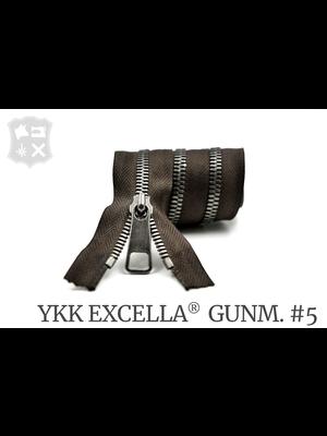 YKK Excella® YKK Excella Rits #5 Gunmetal  op maat (enkel) - (Donkerbruin 088)
