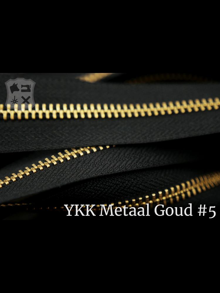 YKK Metaal YKK Metalen rits #5 Golden Brass van de rol - zwart (580)