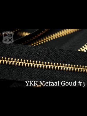 YKK Metalen rits #5 Goud van de rol - (ZA19 - zwart 580)