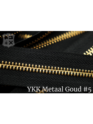 YKK YKK Metalen rits #5 Golden Brass van de rol - zwart (580)
