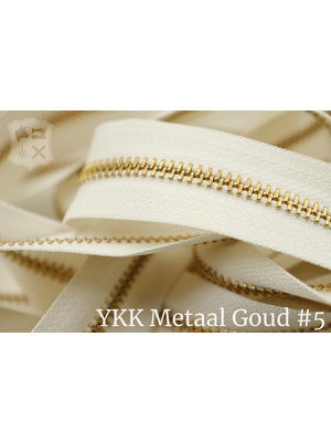 YKK Metalen rits #5 Goud van de rol - (A2 - Ivoor 841)