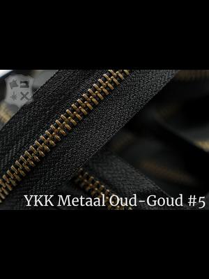 YKK Metalen rits #5 Oud-Goud van de rol - (ZA19 - zwart 580)