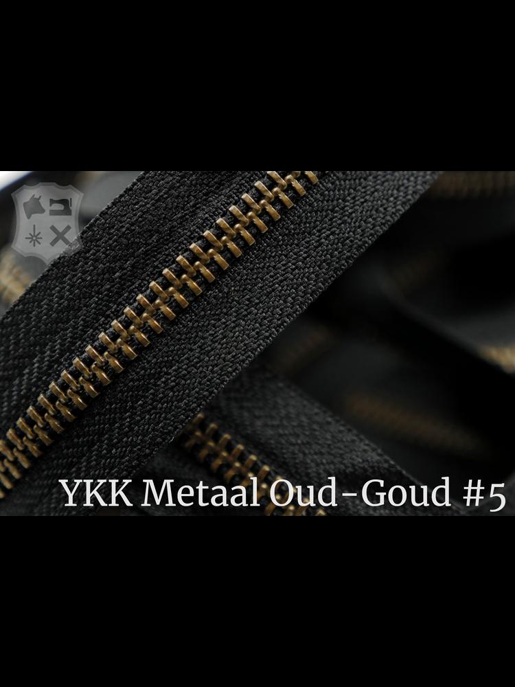 YKK Metaal Metalen rits  #5 Antique Brass van de rol - zwart (580)