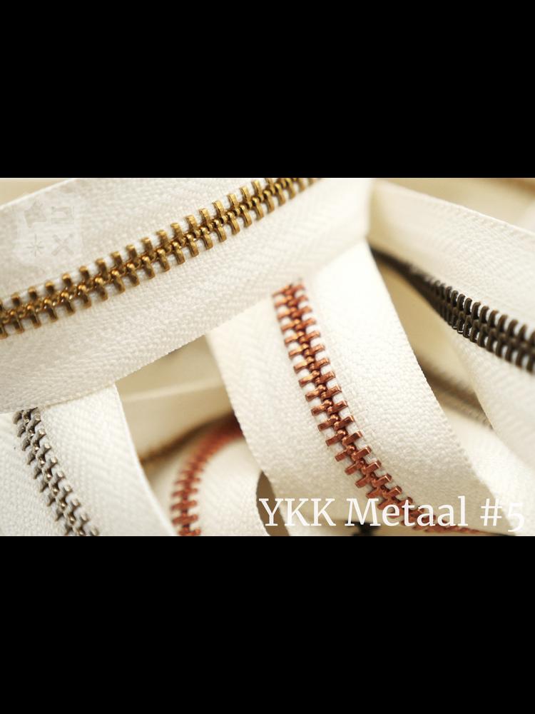 YKK Metaal YKK Metalen rits #5 Golden Brass van de rol - Ivoor (841)
