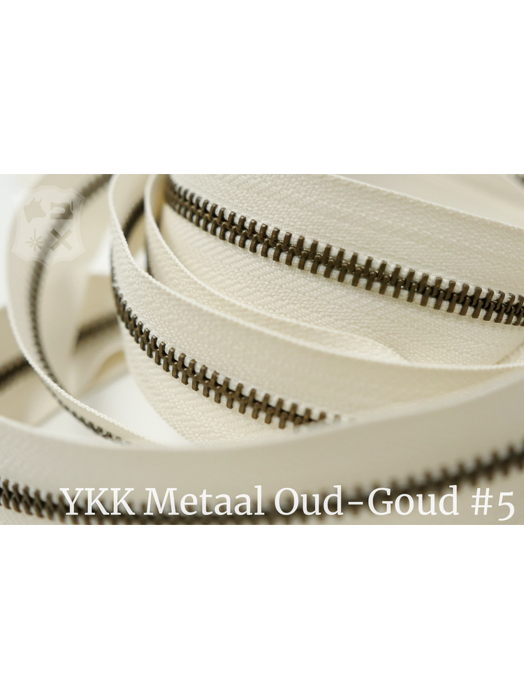 YKK Metaal Metalen rits  #5 Antique Brass van de rol - ivoor (841)