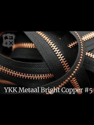 YKK Metaal Metalen rits #5 Bright Copper van de rol - (ZA19 - zwart 580)
