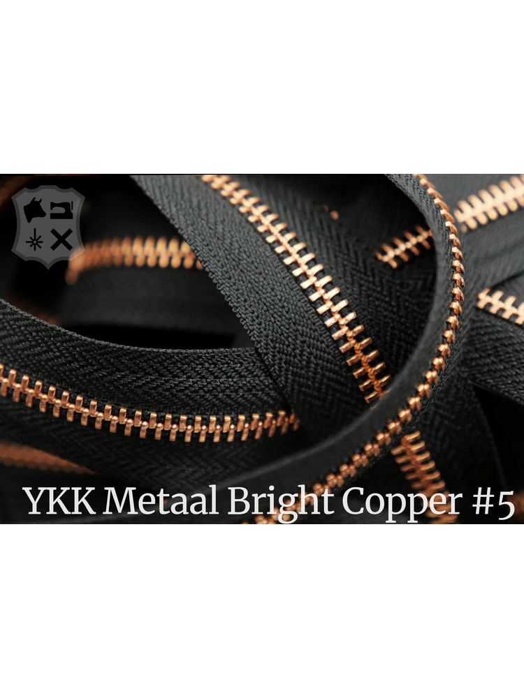 YKK Metaal Metalen rits  #5 Bright Copper van de rol - zwart (580)