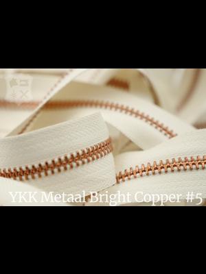 YKK Metalen rits #5 Bright Copper van de rol - (A2 - ivoor 841)