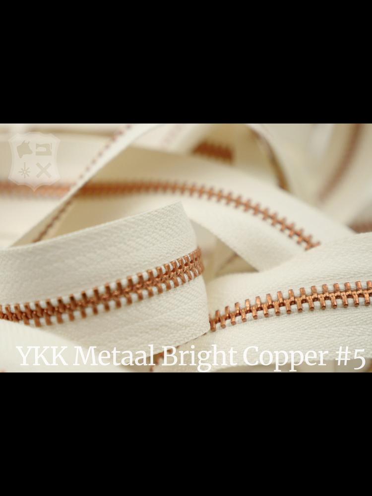 YKK Metaal Metalen rits  #5 Bright Copper van de rol - ivoor (841)