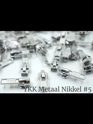 YKK Metaal YKK sluiters met puller #5, nikkel, geremd (5 stuks)