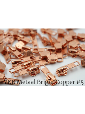 YKK Metaal YKK sluiters met puller #5, Bright Copper, geremd (5 stuks)