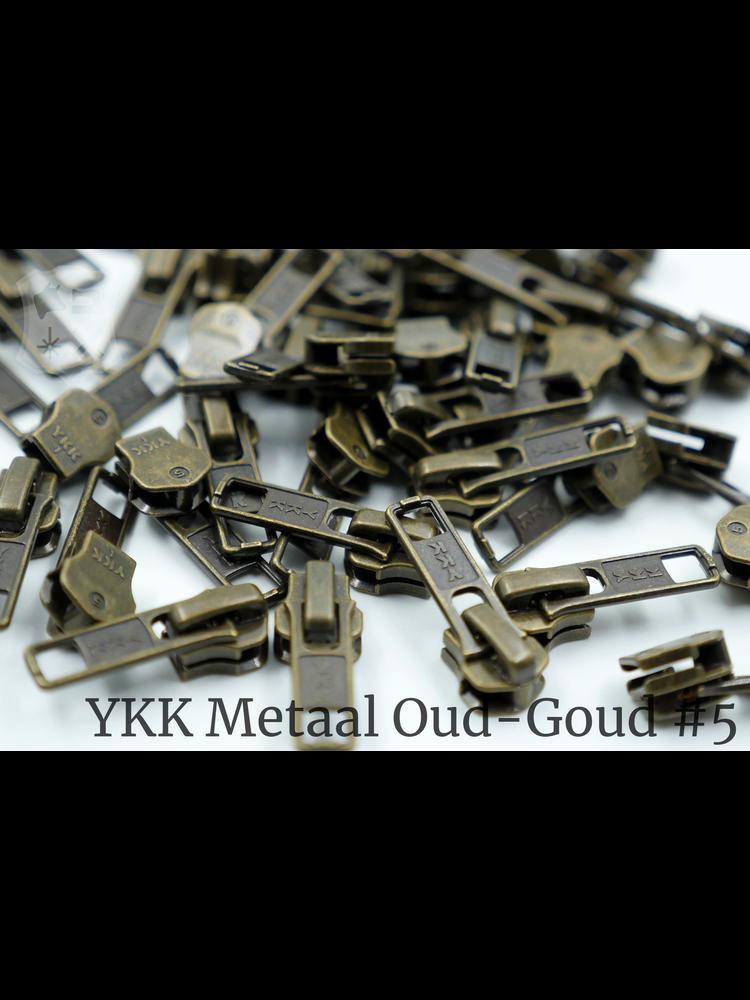 YKK Metaal YKK sluiters met puller #5, Antique Brass, geremd (5 stuks)