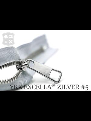 YKK Excella® YKK Excella Rits #5 zilver op maat (dubbel / head-to-head) -  (M04 - IJsgrijs 369)