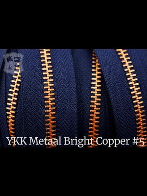YKK Metalen rits  #5 Bright Copper van de rol - Marine blauw (058)