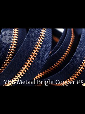 YKK Metalen rits #5 Bright Copper van de rol - (K16 - Marine blauw 058)