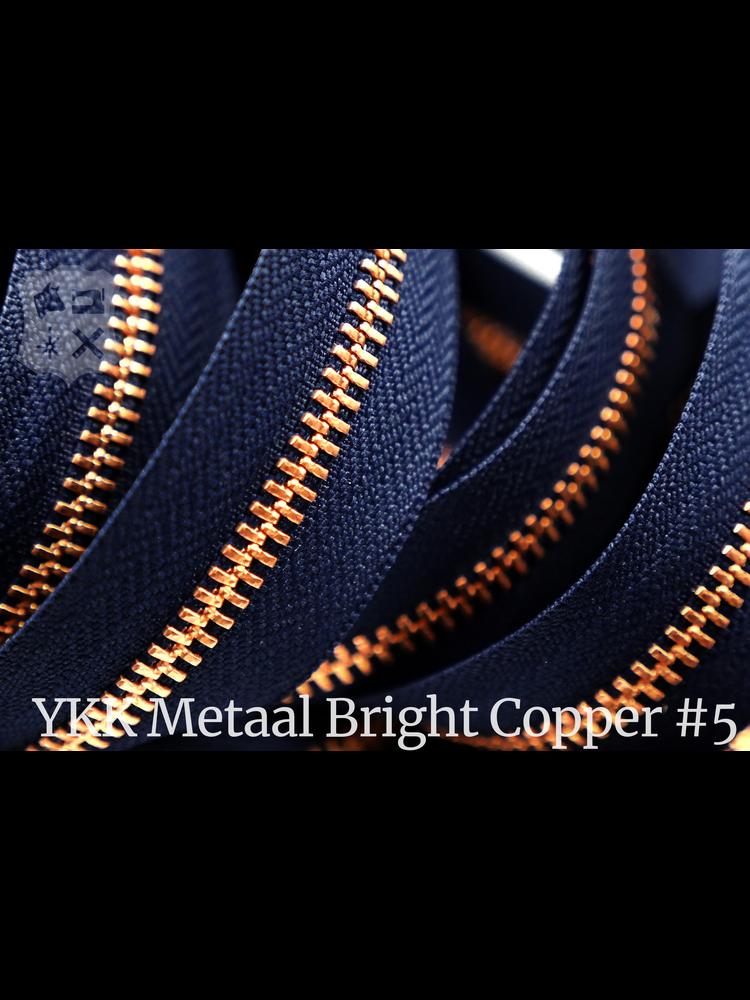 YKK Metaal Metalen rits  #5 Bright Copper van de rol - Marine blauw (058)