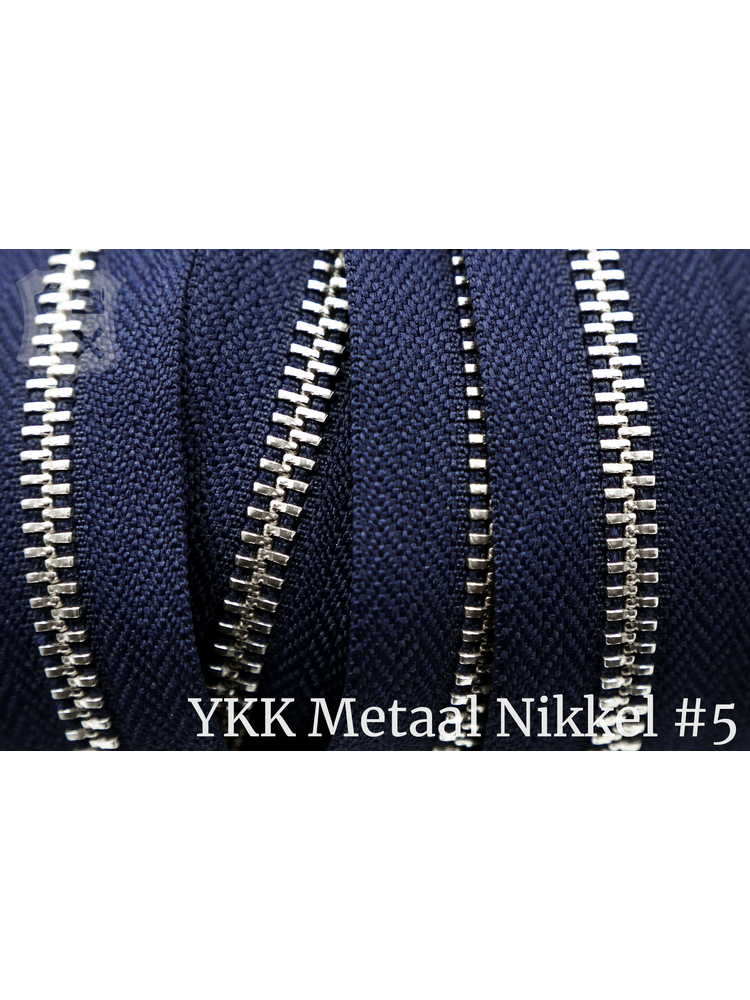 YKK Metaal YKK Metalen rits #5 Nikkel van de rol -  Marine blauw (058)