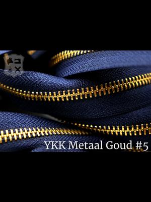 YKK YKK Metalen rits #5 Golden Brass van de rol  - Marine blauw (058)