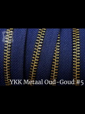 YKK Metaal Metalen rits  #5 Antique Brass van de rol - Marine blauw (058)