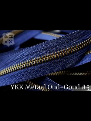 YKK Metaal Metalen rits #5 Oud-Goud van de rol - (K16 - Marine blauw 058)