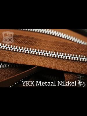YKK Metalen rits #5 Nikkel van de rol - (C17 - Cognac 859)